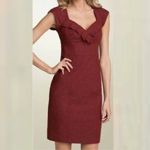 Nanette Lepore Tweed Sheath Dress 6 Red